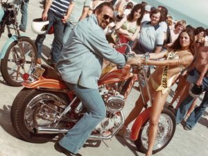 Rat's Hole 40th Anniversary: Big Daddy Rat and Rat Mate Harley, on the boardwalk in Daytona Beach in 1977