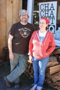 Frank and Cherie Davis stand outside the Cha Cha Hut awaiting your arrival for the best barbecue and desserts in the area