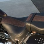 Old skool styling and detachable pillion distinguish the Anniversary Heritage Softail seat