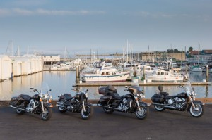 Four for the road: the Road King, Fat Boy Lo, Electra Glide Ultra Limited and Heritage Softail Classic in 110th Anniversary livery