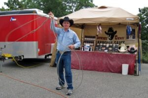 Calf-ropin' Cowboy Chris was out rounding up customers for his barbecue sauces and dry rubs at the Toad Cove Vendor Village