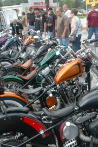 Taking in the tank lineup at Willie's Old School Chopper Show