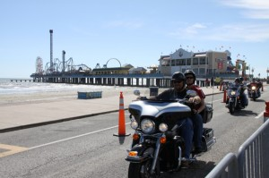 Cruising Seawall Boulevard with Pleasure Pier in the background