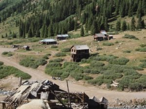 The Animas Forks ghost town, located 12 miles northeast of Silverton
