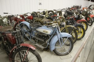 This sweet collection of old Harleys and other antique bikes was on display at the Pioneer Museum in Minden, Nebraska
