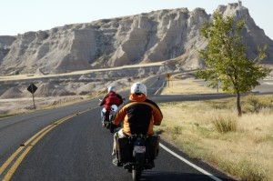 Two of the New York entrants on their Henderson motorcycles along the notorious Badlands of South Dakota