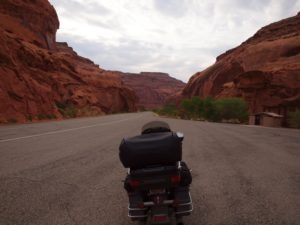 The roads are literally carved into the surrounding canyons, as seen here on Highway 95 just east of Hanksville, Utah
