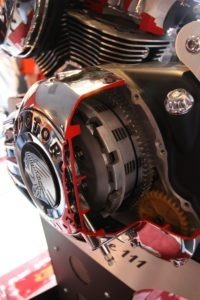 A cutaway of the primary revealing the clutch and gear cluster