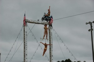 Under ominous skies, the Circus Una Thrill Show wowed onlookers throughout the rainy weekend