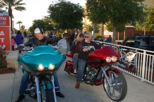 A couple of Jerry Covington's customs heading out from the bike show