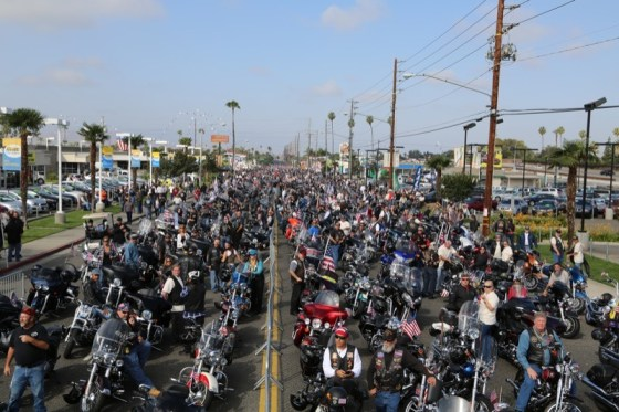 Thousands of bikes line up for more than a mile awaiting their journey to honor our veterans (photo by Jon DeMaria)