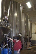A worker checks the brewing tanks at Lakefront Brewery