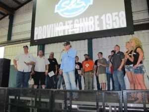 Jay Allen hands out awards to the chopper classes participating in the S&S 55th Anniversary Student Bike Build Challenge