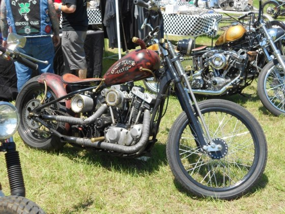 A custom Ironhead Sportster on display from Court House Customs out of Ohio
