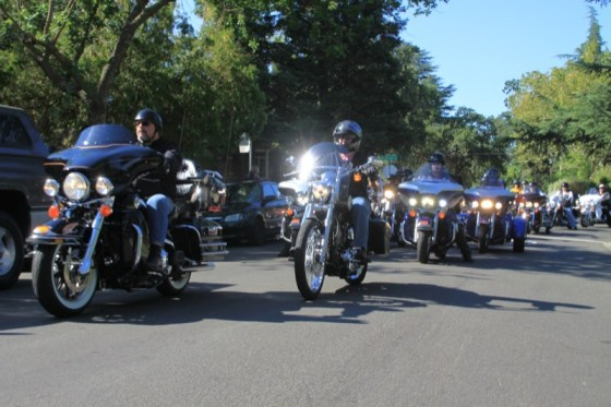 About 600 bikers saddled up after the ceremony to ride to Penn Valley