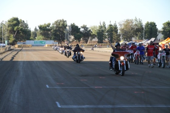 The Warrior Guard rides onto the race track to honor Officer Tonn