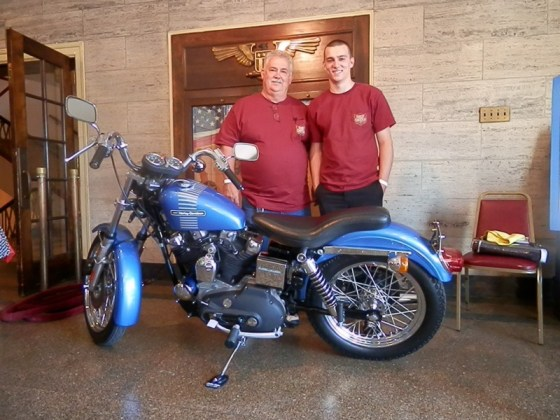 Marc's son Michael (r) will take over ownership of the '73 Sportster when he turns 21