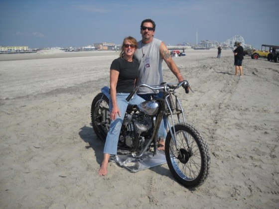Maureen and Pete Minardi with Pete's '31 Indian