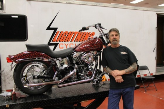 Troy Nicholson with Lightning Cycle Works completed a total reconstruction of a 1977 FX Shovelhead on Friday and Saturday
