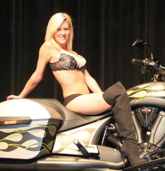 This year's Miss Las Vegas BikeFest winner, Kalia Nelson, poses for the crowd