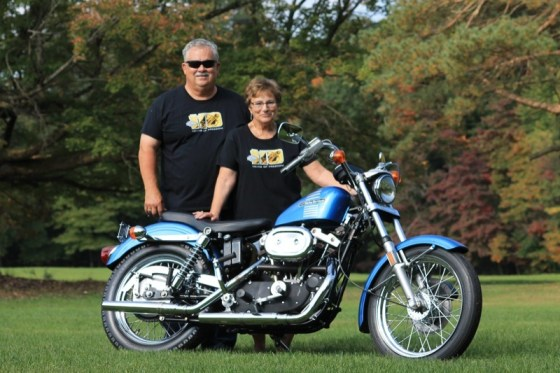 """Marc Duell and his wife Nita with the """"1ST 73"""" Sportster"""