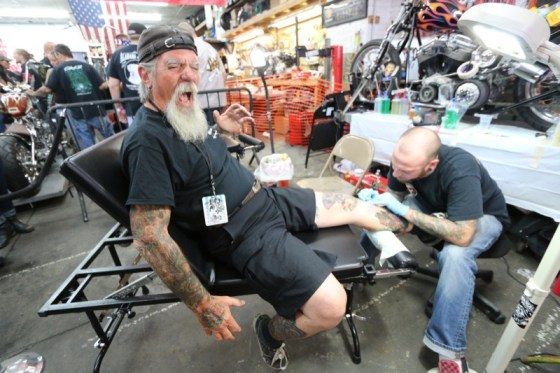 "Brian from Immortal Ink lays a memorial Indian Larry tattoo on Kevin ""Mailman"" O'Brien (it really didn't hurt that much)"