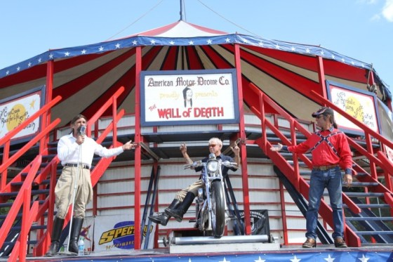American Motor Drome's Charlie Ransom, Wahl E. Walker and Dallas Dan lure spectators into a Wall of Death performance at Winter Place Park