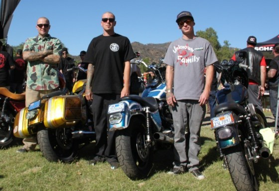 Unknown Riders Buddy Suttle, Nick Leonetti and Kade Gates stand by their tricked-out FXR's