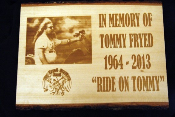 The plaque presented to Tommy's mother Gerry by the Marines MC