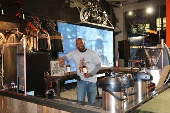 Koran Thomas of William Wolf Pecan Bourbon takes over the coffee bar for the grand opening