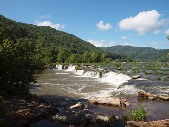 Stop and enjoy the Sandstone Falls State Park on the new River
