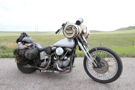 The Panhead features a 1960 engine and tranny, a '93 Springer front end with a disk brake, and a '48–'53 wishbone frame.