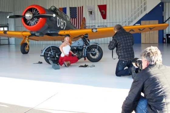 Jessi Combs takes direction during the photo shoot