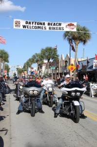 The fine weather insured a never-ending parade of bikers down Main Street