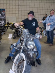 Lonnie Hannah, Indian Motorcycle senior Designer, checks out the Indian 841