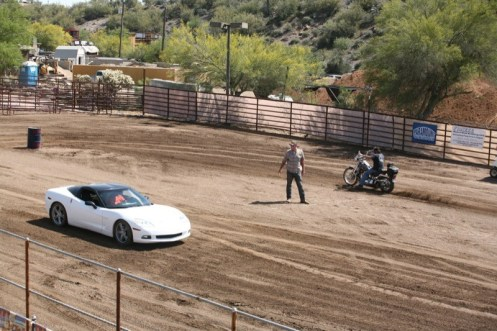It's Softail vs. Chevy in the barrel race at the Buffalo Chip, and the 'Vette came out on top