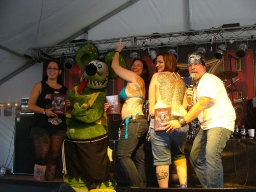 Winners of the ladies' color class celebrate their win in the Rat's Hole Tattoo Contest, including the author's daughter (third from left)