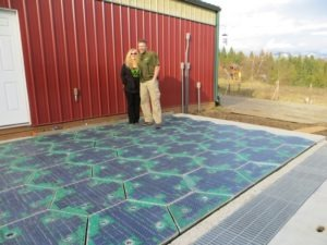 Scott and Julie Brosaw with their solar roadway grid