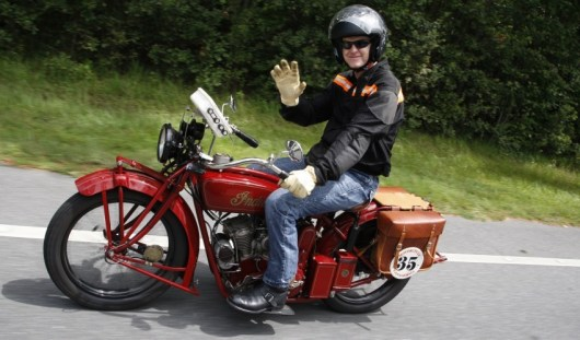 Hans Coertse from South Africa aboard his 1924 Indian Scout