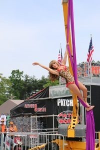 Flaunt Girl Laticia performed cirque-style three times every day at Laconia H-D