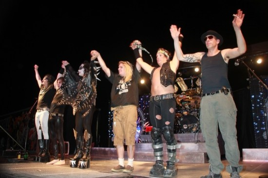 The high-energy boys from Hairball bow to the crowd after their set