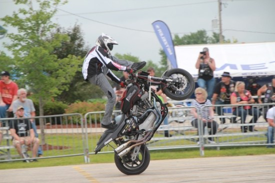 Stunt riders put on a show for the crowds