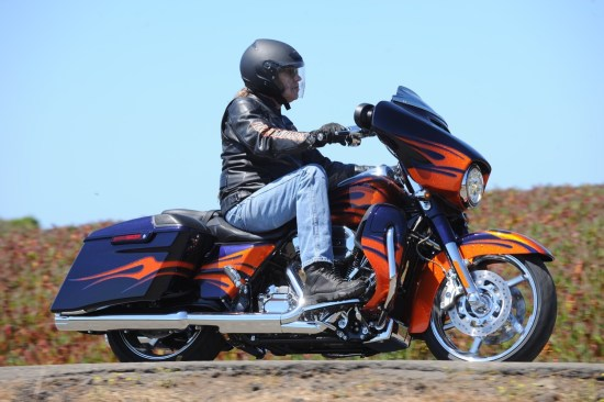 MSRP on the CVO Street Glide, pictured here in Ultraviolet Blue/Molten Lava Flames, starts at $36,349