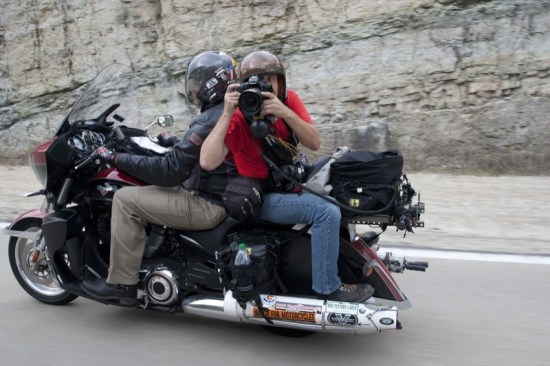 Photographer Michael Lichter, chauffered here by Dave Przygocki, has ridden each of the Motorcycle Cannonball Runs coast-tocoast- backwards. We're pretty sure he's the only one in the world to have done so.
