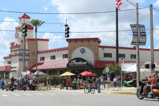 The Indian/Victory dealership on Beach Street hosted vendors, the Rat's Hole Bike Show and other attractions during Bike Week