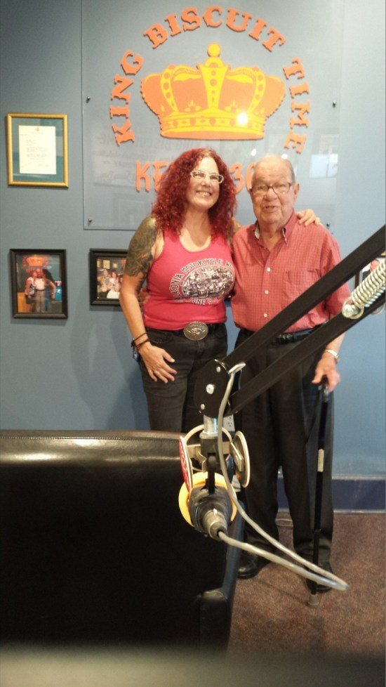 "Shadow with ""Sunshine"" Sonny Payne, host of the King Biscuit Time program that airs from radio station KFFA in Helena, Arkansas"