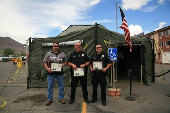 The management at the Model T Resort held their first Freedom Rally. Military Awards were given to Chief Eric Silva, Officer Dave Garrison, Mike Rangel (left to right) and Officer Joel Martin (not pictured) to thank them for their service.