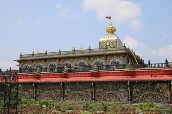 A portion of the Palace of Gold as seen from the rose garden