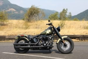 Decked in Olive Gold Denim and military graphics, the Softail Slim S casts a striking departure for The Motor Company