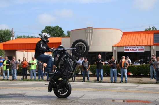 IllConduct performed a stunt show on the still-wet street in front of Charlie's H-D during the West Virginia State H.O.G. Rally